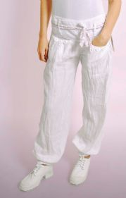 White Linen Trousers With Floral Belt